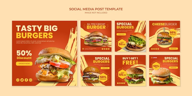 Modello di post instagram di social media gustoso hamburger