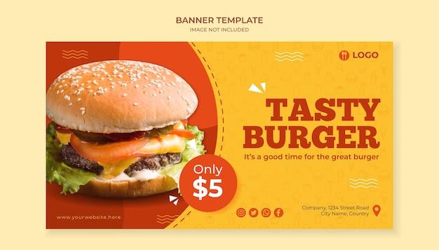 Modello di banner gustoso hamburger per ristorante fast food