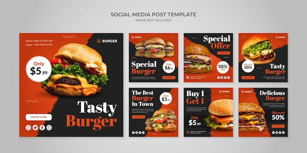 Modello di post instagram social media gustoso hamburger