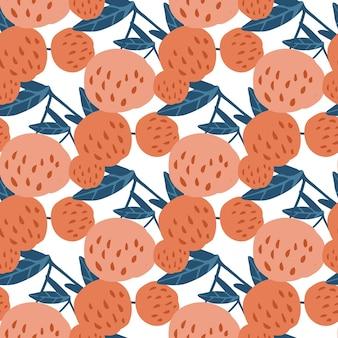Gustose bacche di ciliegia e foglie senza cuciture. illustrazione vettoriale di ciliegie disegnate a mano. design per tessuto, stampa tessile. carta da parati contemporanea con bacche di frutta estiva.
