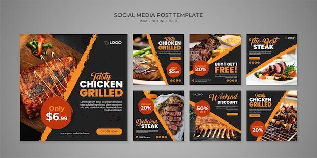 Modello di post instagram social media gustoso pollo alla griglia per ristorante
