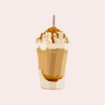 Gustoso milkshake al cioccolato con sopra panna montata e caramello spruzzato