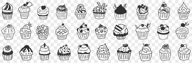Insieme di doodle di gustosi cupcakes dessert