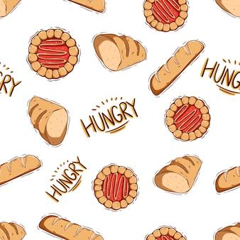 Gustoso pane e biscotto scarabocchiato in uno schema senza cuciture con disegno a mano o stile scarabocchio