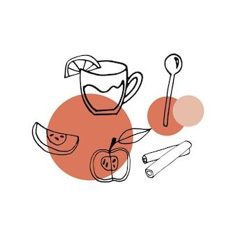 Gustoso set vettoriale di alba a mano con vin brulè e ingredienti