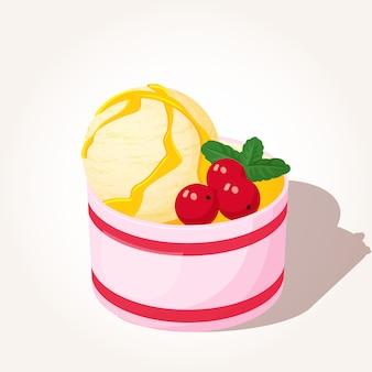 Gustose bacche di gelato e menta in stile cartone animato