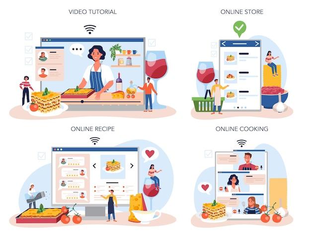 Gustoso servizio online di lasagne o set di piattaforme. deliziosa cucina italiana nel piatto. persone che cucinano pasti per la cena o il pranzo. cucina online, negozio, ricetta, video tutorial.