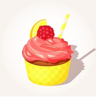 Gustosa crema di cupcake al limone e lampone in stile cartoon