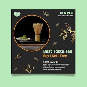Modello di volantino quadrato gustoso tè matcha