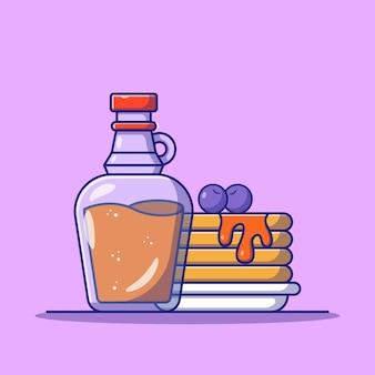 Gustosa frittella con sciroppo d'acero e mirtilli icona piatta illustrazione