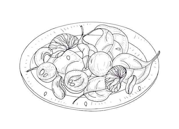 Gustosa insalata sul piatto disegnato a mano con linee di contorno. delizioso pasto vegetariano del ristorante a base di frutta, noci e foglie di spinaci