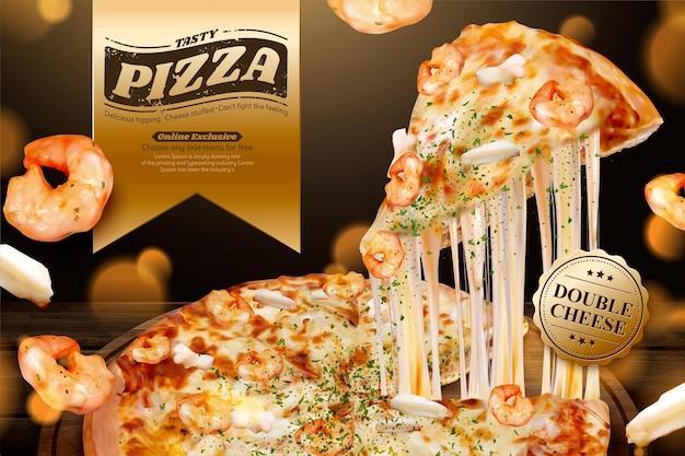 Gustose pubblicità di pizza di pesce con formaggio a pasta filata nell'illustrazione 3d, gamberetti e ingredienti ad anello di calamari