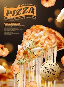 Gustose pubblicità di poster di pizza di pesce con formaggio a pasta filata in illustrazione 3d, gamberetti e ingredienti ad anello di calamari