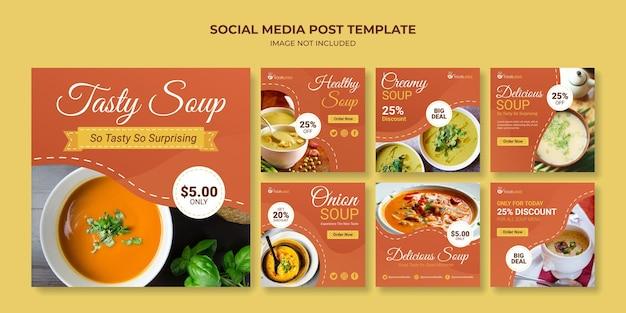 Modello di post sui social media di zuppa gustosa