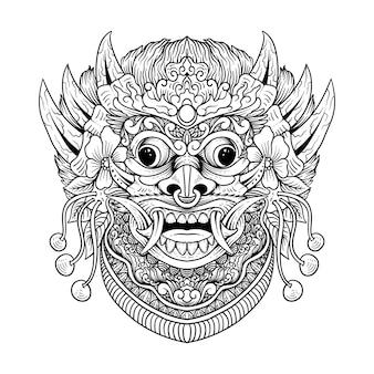 Tatuaggio annuncio t shirt design disegnato a mano rangda barong bali indonesiano line art style