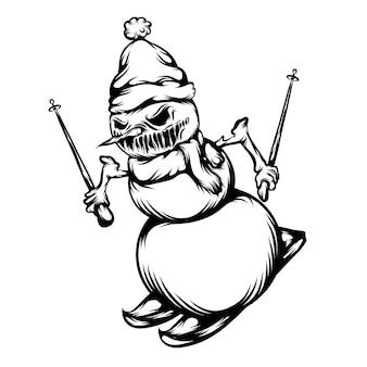 L'animazione del tatuaggio del pupazzo di neve spaventoso sta giocando a pattinare sul ghiaccio