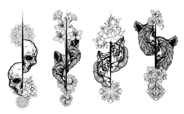 Tatuaggio arte disegno a mano animale e schizzo in bianco e nero