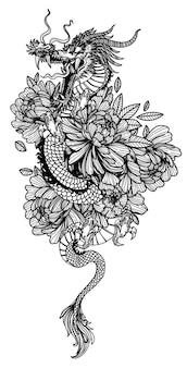 Arte del tatuaggio dargon in fiore disegno schizzo in bianco e nero