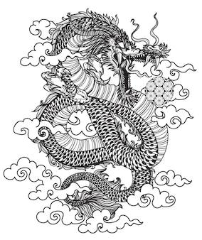 Arte del tatuaggio dargon fly mano disegno schizzo in bianco e nero