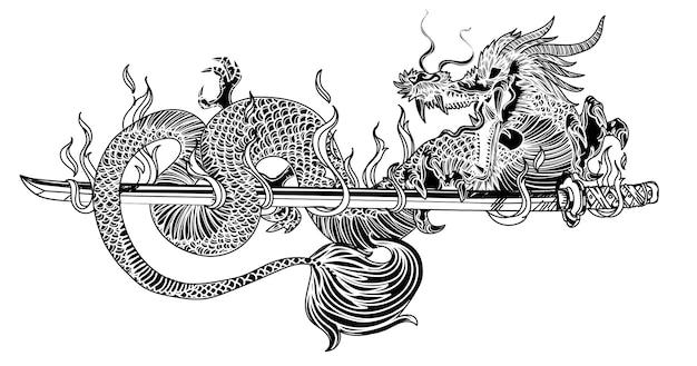 Arte del tatuaggio dargon e spada giapponese disegno a mano schizzo in bianco e nero