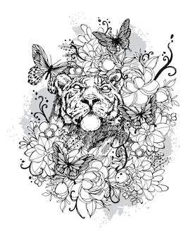 Mano del leone di arte del tatuaggio che disegna in bianco e nero