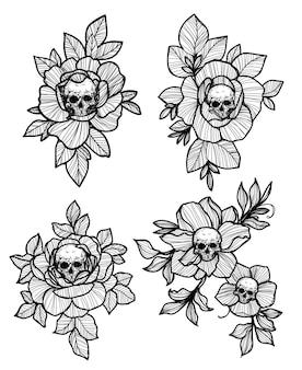 Arte del tatuaggio teschio e fiore disegno a mano e schizzo in bianco e nero