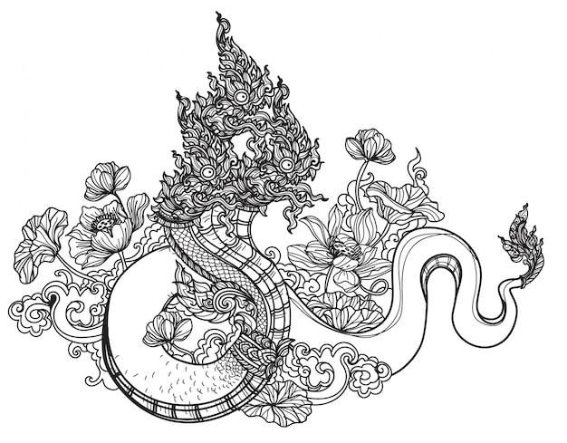 Schizzo tailandese del disegno della mano della letteratura del modello del serpente di arte del tatuaggio