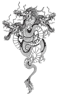 Arte del tatuaggio a tre teste dragon fly mano disegno schizzo in bianco e nero