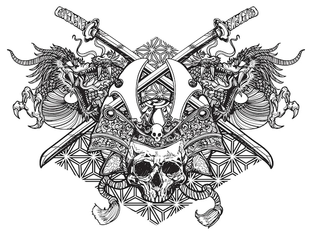 Arte del tatuaggio testa di guerriero giapponese spada e drago disegno letteratura schizzo disegno a mano