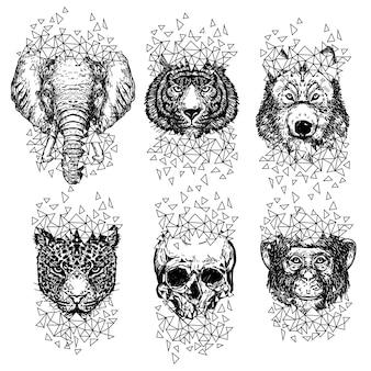 Arte del tatuaggio lupo scimmia tigre ed elefante disegno a mano e schizzo in bianco e nero