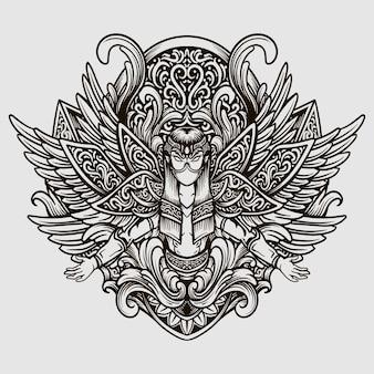 Disegno del tatuaggio in bianco e nero disegnato a mano angelo incisione ornamento