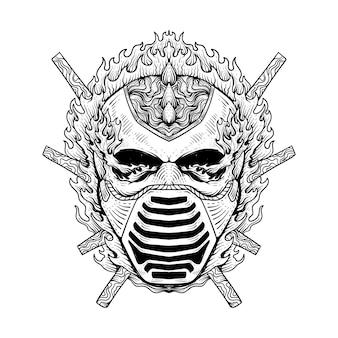 Disegno del tatuaggio teschio fiammeggiante che indossa una maschera line art in bianco e nero
