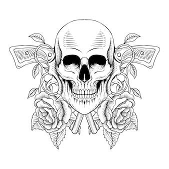 Disegno del tatuaggio teschio disegnato a mano con pistola e rose in stile incisione line art