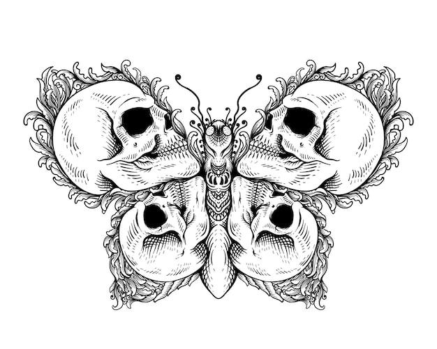 Disegno del tatuaggio teschio con farfalla in stile ornamento bianco e nero
