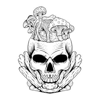 Disegno del tatuaggio teschio con fungo line art in bianco e nero