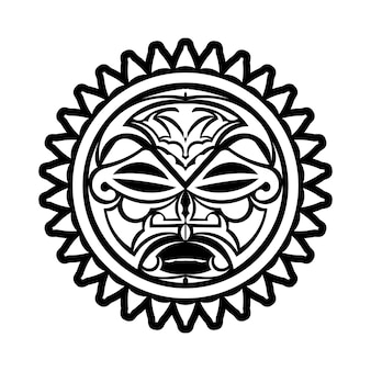 Ornamento del tatuaggio con stile maori del fronte del sole. maschera etnica africana, azteca o maya.