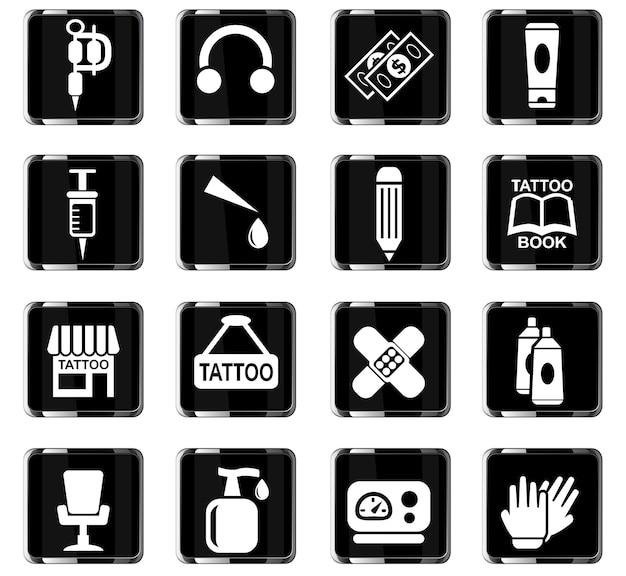 Icone web del salone di tatuaggi per la progettazione dell'interfaccia utente