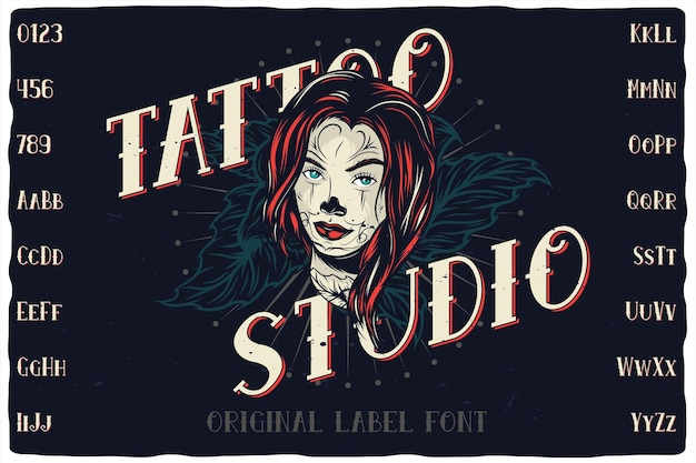 Illustrazione del carattere dell'etichetta di tattoo studio