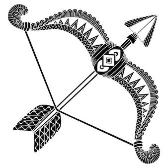 Stile del tatuaggio. siluetta di vettore di frecce e arco isolato su priorità bassa bianca. segno zodiacale sagittario. sfondo astratto.