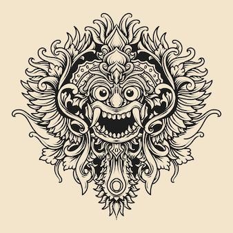 Tatuaggio e t-shirt illustrazione disegnata a mano in bianco e nero barong balinese