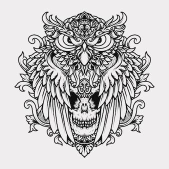 Tatuaggio e t-shirt illustrazione disegnata a mano in bianco e nero incisione gufo e teschio