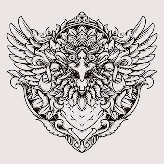 Disegno del tatuaggio e t-shirt ornamento balinese barong garuda incisione