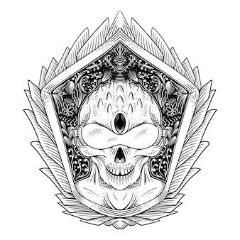 Tatuaggio e t-shirt design ornamento incisione alieno disegnato a mano in bianco e nero