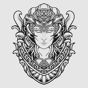 Tatuaggio e t-shirt design in bianco e nero disegnati a mano donne aliene incisione ornamento