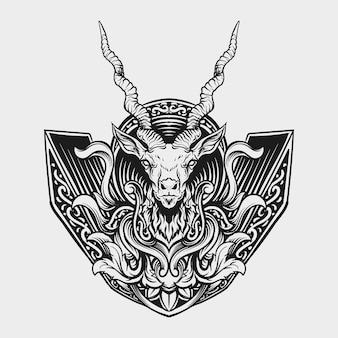 Tatuaggio e t-shirt design ornamento in bianco e nero disegnato a mano per incisione di antilopi