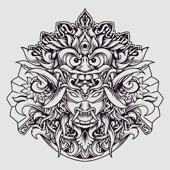 Disegno del tatuaggio e t-shirt in bianco e nero disegnato a mano balinese barong x oni maschera incisione ornamento