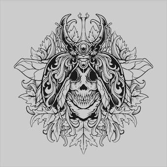 Tatuaggio e t-shirt design ornamento incisione teschio scarabeo disegnato a mano in bianco e nero