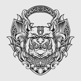 Tatuaggio e t-shirt design bulldog disegnato a mano in bianco e nero