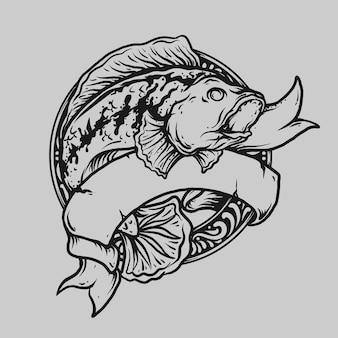 Tatuaggio e t-shirt design in bianco e nero disegnato a mano chana predatore pesce incisione ornamento