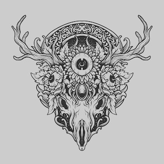 Tatuaggio e t-shirt design in bianco e nero disegnato a mano teschio di cervo e ornamento incisione occhio di girasole